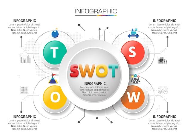 4 etapas de design de infográficos com ícones de marketing podem ser usadas para layout de fluxo de trabalho, diagrama, relatório anual, design de web.