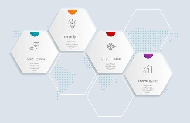 4 etapas de infográficos de hexágono abstratos para negócios e apresentação