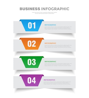 4 etapas flip flat design de modelo de infográfico de negócios