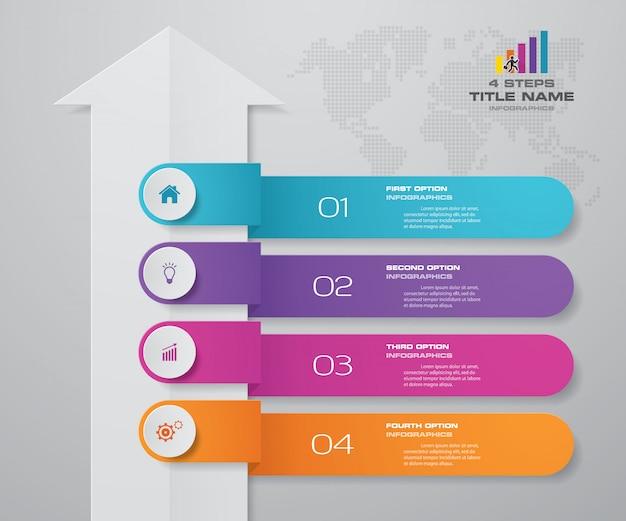 4 etapas infográficos elemento seta modelo gráfico.