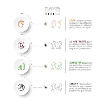 4 etapas para apresentar e relatar resultados, incluindo a explicação do fluxo de trabalho de um negócio ou organização. infográfico.