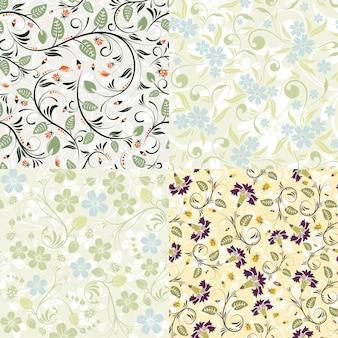 4 padrões sem emenda de flores com joaninha. modelo de vetor para capa, folheto, brochura, cartão de felicitações.