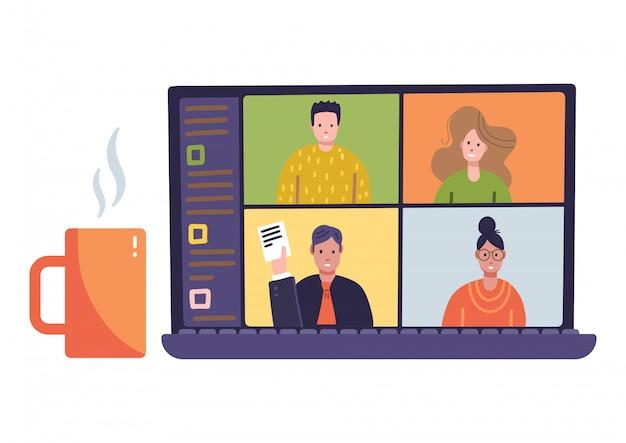 4 painéis jovem em reuniões virtuais remotas on-line, videoconferência na web.