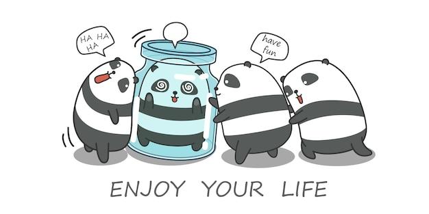 4 pandas estão jogando juntos.