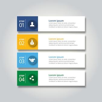 4 passos de infografia com azul-amarelo céu azul e cor verde