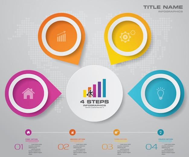4 passos simples e editável processo gráfico elemento infográficos.