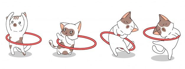 4 personagens diferentes de gato kawaii estão se exercitando com banner de aro