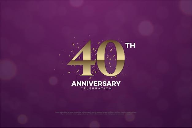 40º aniversário com fundo roxo e números ema classificados.