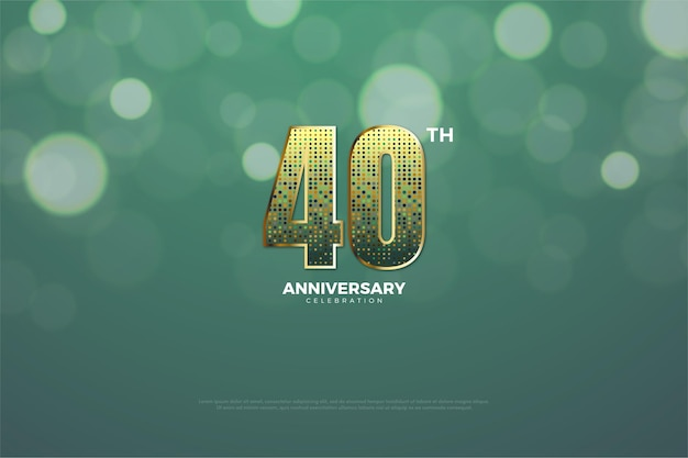 40º aniversário fundo com glitter dourados formando números.