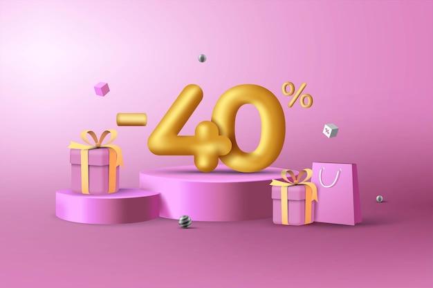 40% de desconto em números de desconto em ouro 3d no pódio com sacola de compras e caixa de presente