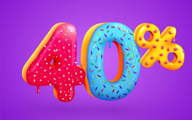 40% de desconto na composição de sobremesas 3d símbolo de mega venda com números de rosquinhas doces voadoras