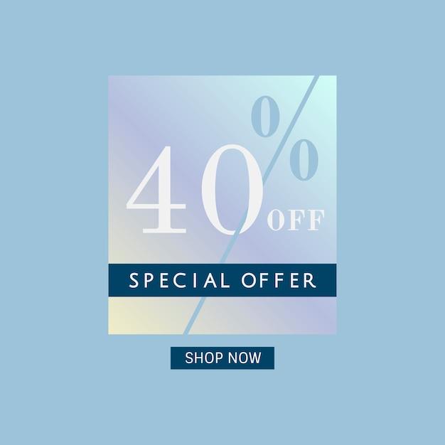 40% de desconto no vetor de crachá de oferta especial