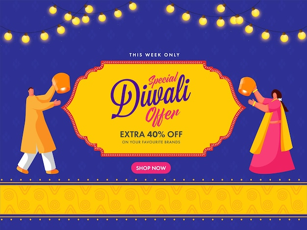 40% extra de desconto para diwali sale poster design com indianos segurando lanternas celestes.