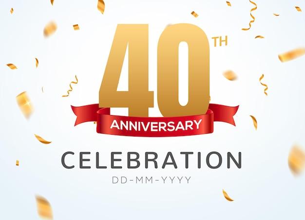 40 números de aniversário de ouro com confete dourado. modelo de festa de evento de 40º aniversário de celebração.