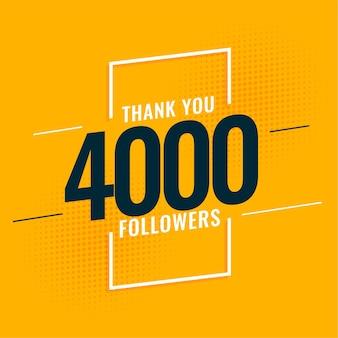 4000 seguidores de mídia social e design de modelo de assinantes