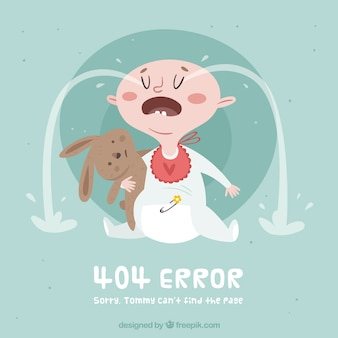 404 conceito de erro com bebê chorando