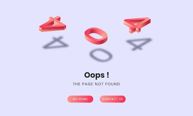 404 conceito isométrico da página de destino