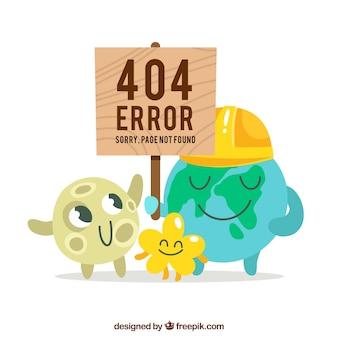 404 design de erro com monstro fofos