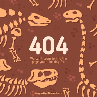 404 erro conceito dinossauro esqueletos