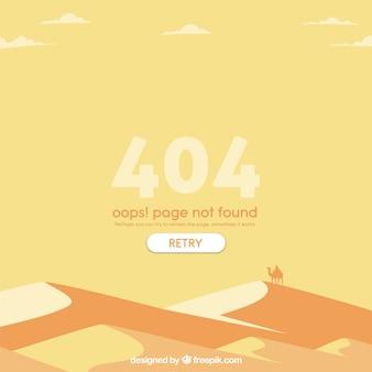 404 modelo de erro na web com deserto em estilo plano