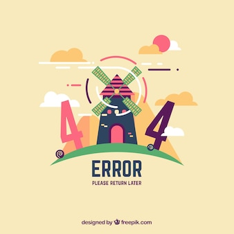 404 modelo de erro na web com moinho de vento em estilo plano