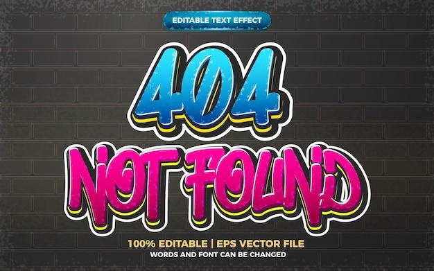 404 não encontrado efeito de texto editável de graffiti 3d