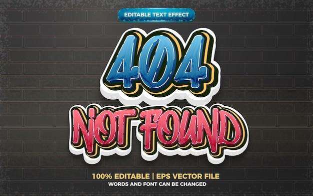 404 não encontrado efeito de texto editável do logotipo do estilo da arte graffiti 3d