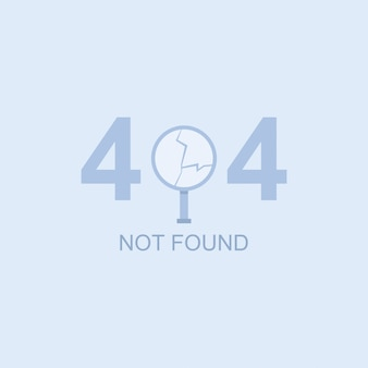 404 não encontrado ilustração vetorial com uma lupa quebrada.