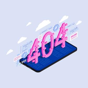 404 números na ilustração isométrica de tela de smartphone.