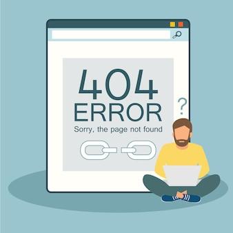 404 página de erro não encontrado conceito ilustração do homem usando um laptop com problema no site. design plano do sujeito sentado perto do grande símbolo 404 na página web e trabalhando no laptop