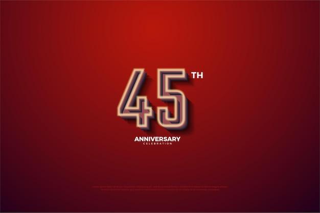 45º aniversário com uma borda branca leitosa ligeiramente desbotada.