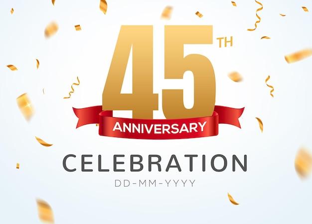 45 números de aniversário de ouro com confete dourado. modelo de festa de evento de celebração de 45º aniversário.