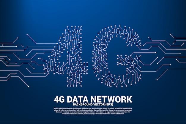 4g ponto conecte o ícone de dados móveis de estilo de placa de circuito de linha.