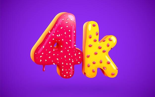 4k ou 4000 seguidores donut sobremesa assinar amigos de mídia social obrigado seguidores
