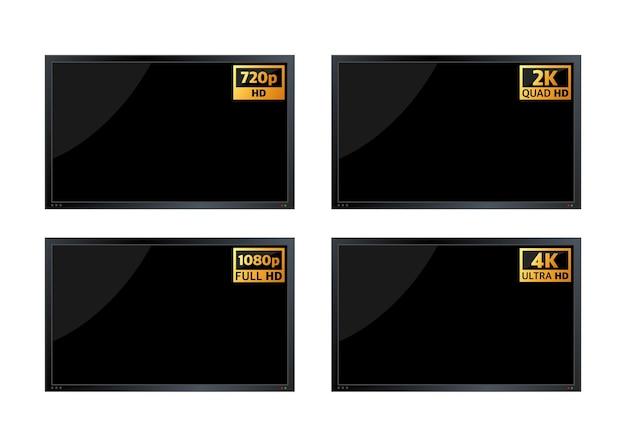 4k ultrahd, 2k quadhd, 1080 fullhd e 720 hd dimensões de vídeo