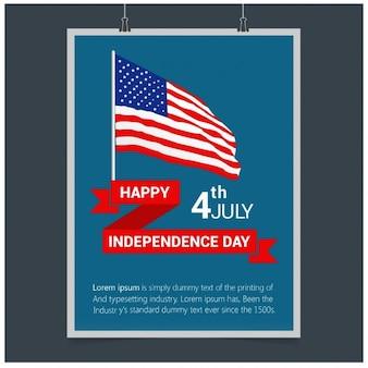 4o feliz do modelo de cartaz julho eua dia da independência