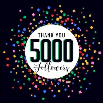 5.000 seguidores na mídia social, obrigado postar