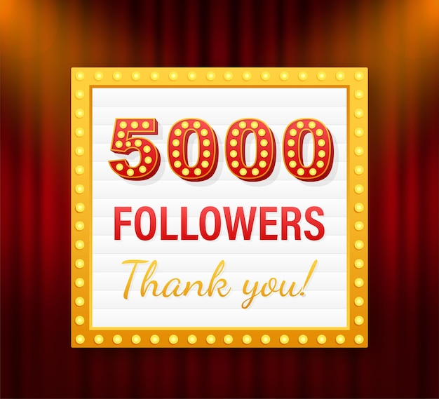 5.000 seguidores, obrigado, postagens em sites sociais. obrigado cartão de felicitações de seguidores. ilustração em vetor das ações.