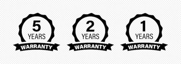 5, 2 e 1 anos e ícone da etiqueta de garantia vitalícia. vetor em fundo transparente isolado. eps 10