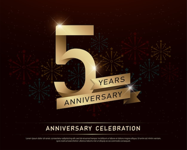 5º aniversário aniversário comemoração número ouro e fitas
