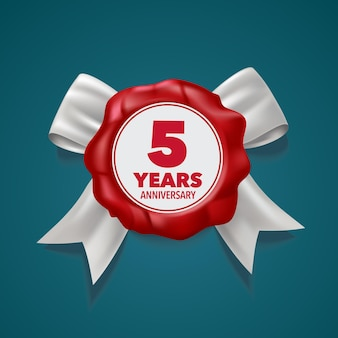 5º aniversário, cartão comemorativo do 5º aniversário