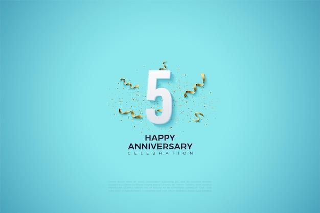 5º aniversário com festa festiva por trás dos números.