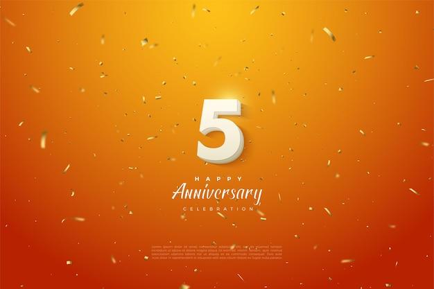 5º aniversário com fundo laranja salpicado de ouro.