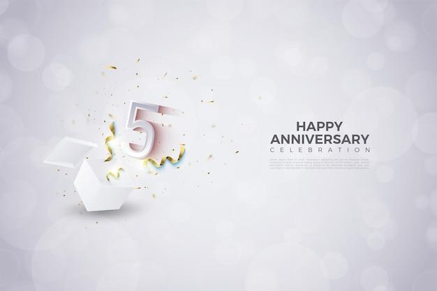5º aniversário com ilustração de números explodindo da caixa de choque.