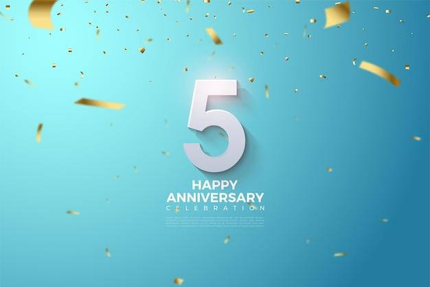 5º aniversário com ilustrações e números de chuva de fita dourada.