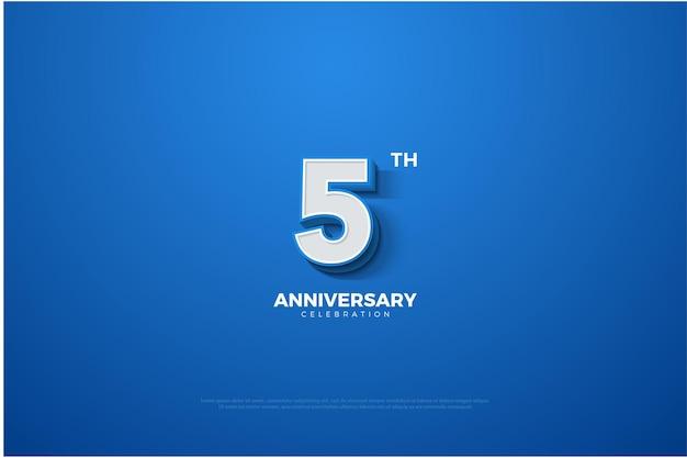 5º aniversário com números 3d.