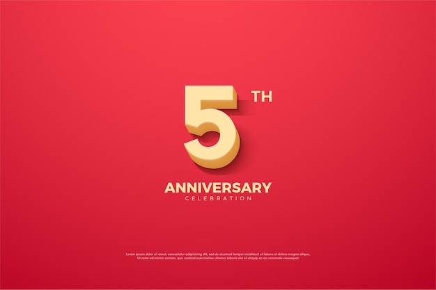 5º aniversário com números de desenhos animados 3d.