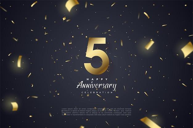 5º aniversário com números dourados e fitas espalhados.