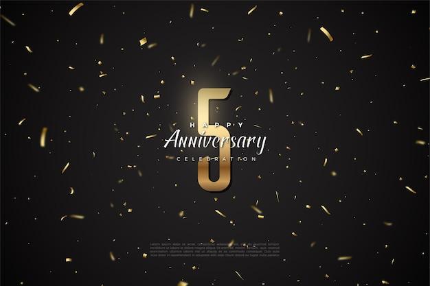 5º aniversário com números dourados e ilustração de fundo do espaço sideral.