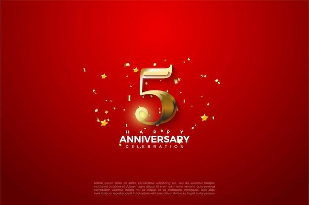 5º aniversário com números dourados sobre fundo vermelho suntuoso.